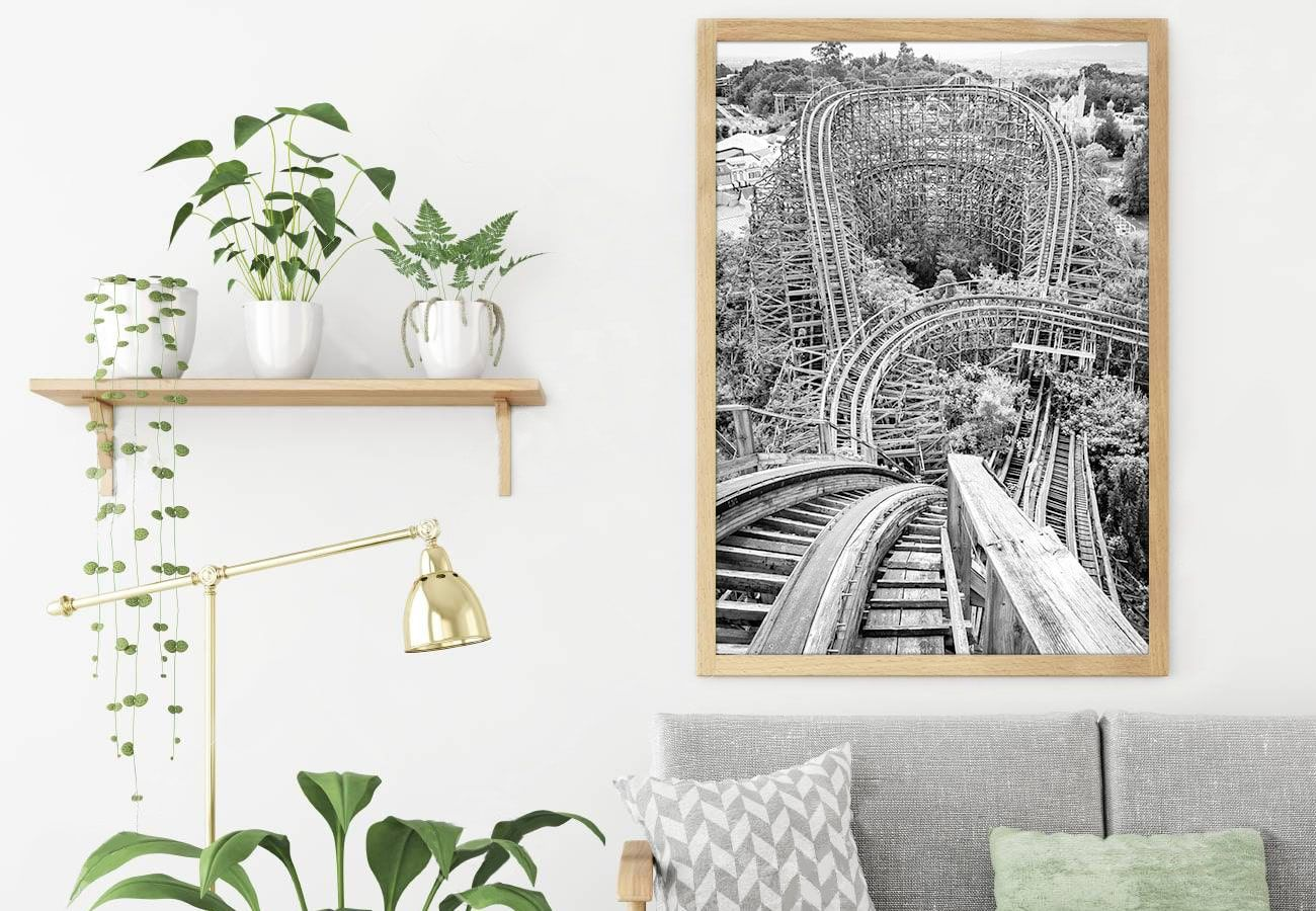 Travel photography displayed in living room