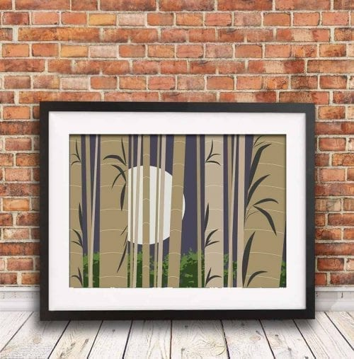 Arashiyama Bamboo Forest Illustration