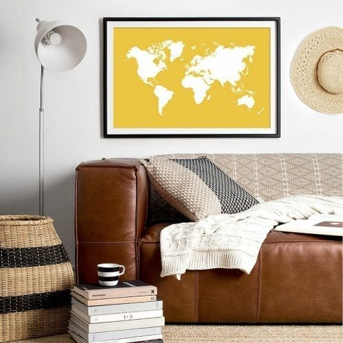 Yellow World Map display image